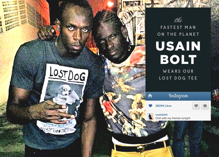 Usain Bolt wears Dirty Velvet T-shirt