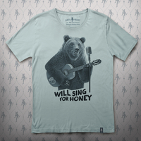 Busker Bear T-shirt (Steel Blue)